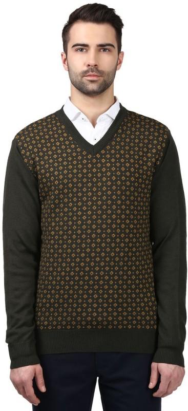 Raymond Self Design V-neck Formal Men Black Sweater