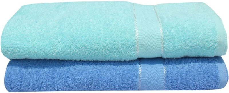 Mandhania Cotton 450 GSM Bath Towel(Pack of 2, Blue)