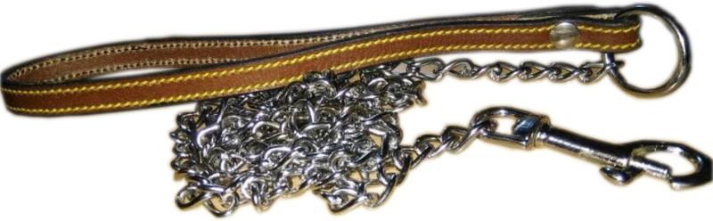 Skora 100% genuine Leather Leash chain (PUPPY) 160 cm Dog & Cat Martingale Leash(Brown, Silver)