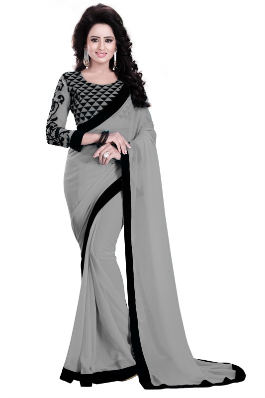 Saumya Designer Self Design Bollywood Poly Georgette Saree(Black, Grey)