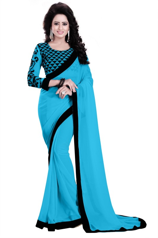 Saumya Designer Solid Bollywood Poly Georgette Saree(Blue, Black)