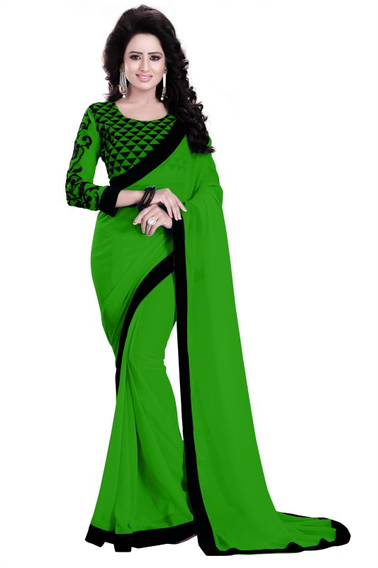 Saumya Designer Solid Bollywood Poly Georgette Saree(Green, Black)