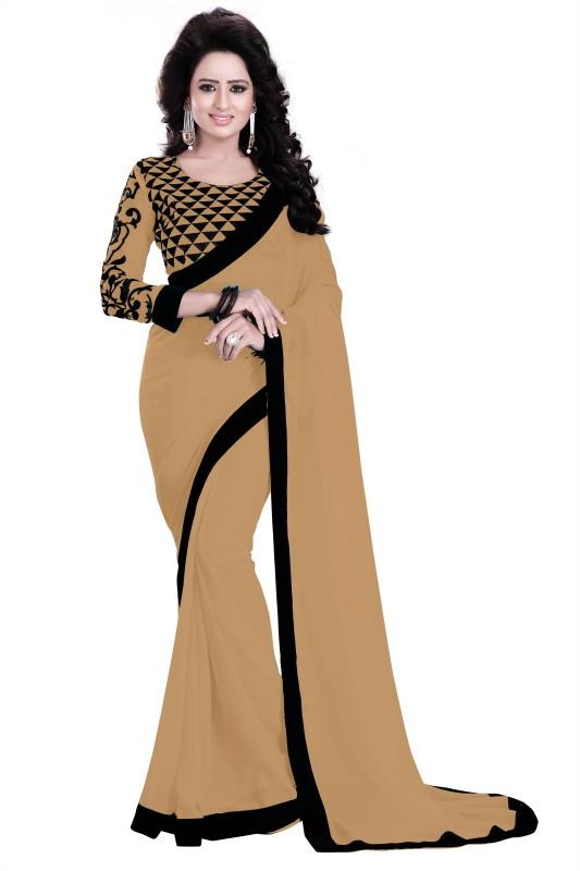 Saumya Designer Applique Bollywood Poly Georgette Saree(Black, Beige)