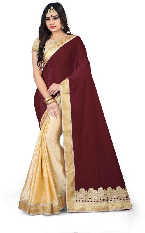 Royal Drift Embroidered Bollywood Velvet, Silk Saree(Multicolor)