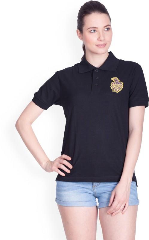 Kolkata Knight Riders Solid Women's Polo Neck Black T-Shirt