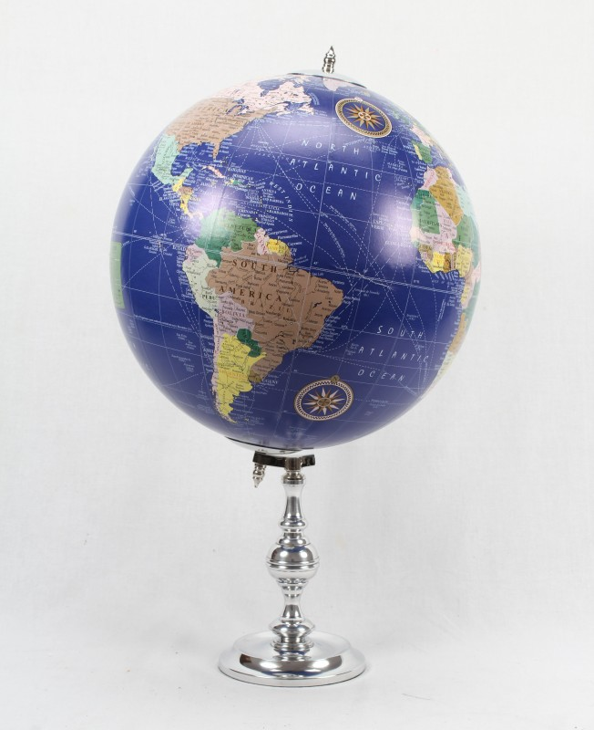 Brass & Copper Classics 12 inch Big Desktop Rotating Antique Educational World Earth Political Office Globe with Aluminium Stand Desk & Table Top Political World Globe(Extra Large Blue)