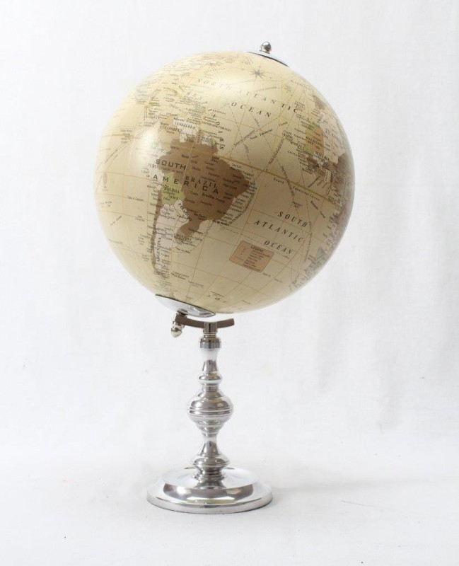Brass & Copper Classics 8 inch Big Desktop Rotating Antique Educational World Earth Political Office Globe with Aluminium Stand Desk & Table Top Political World Globe(Medium Ivory)