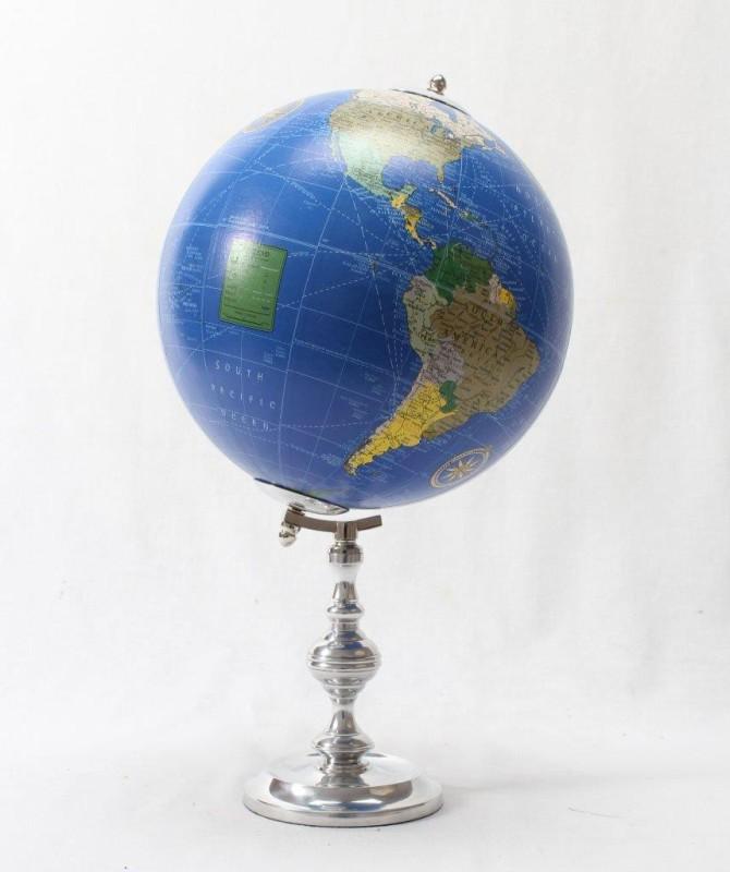 Brass & Copper Classics 8 inch Big Desktop Rotating Antique Educational World Earth Political Office Globe with Aluminium Stand Desk & Table Top Political World Globe(Medium Blue)