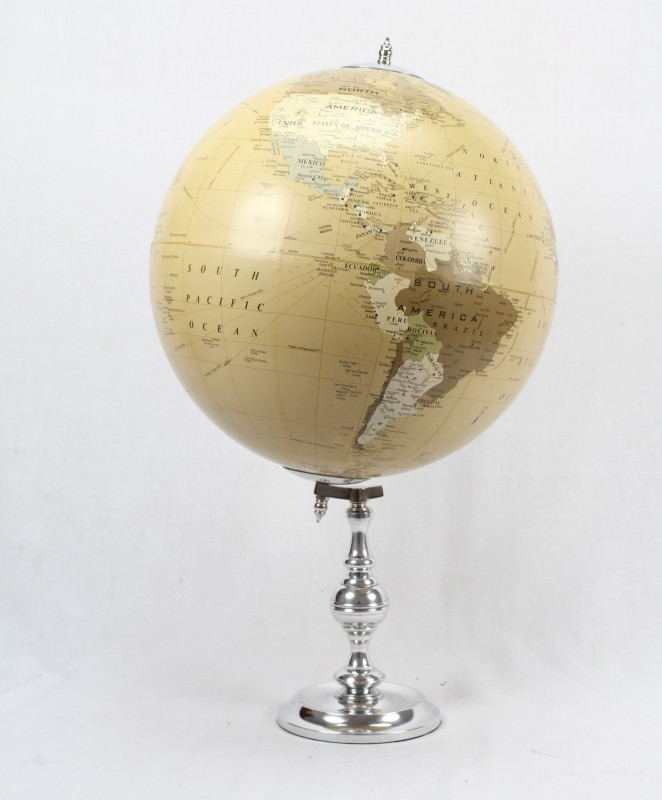 Brass & Copper Classics 12 inch Big Desktop Rotating Antique Educational World Earth Political Office Globe with Aluminium Stand Desk & Table Top Political World Globe(Extra Large Ivory)