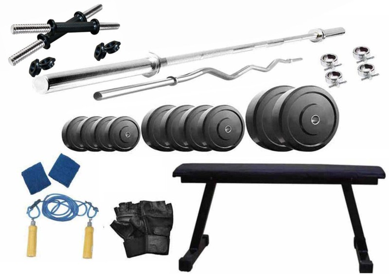 Protoner 38 kg PVC weight with 4 rods and Flat bench Home Gym Combo(20 - 40 kg)
