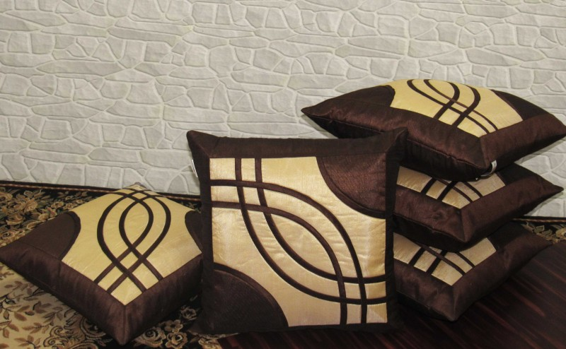 Zikrak Exim Abstract Cushions Cover(Pack of 5, 40 cm*40 cm, Beige, Brown)
