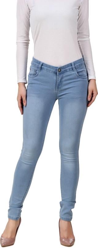 Purple Feather Skinny Women Light Blue Jeans