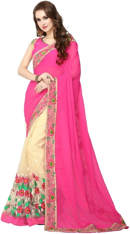 PANCHRATNA Embroidered Fashion Georgette, Net Saree(Multicolor)