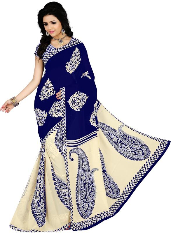 Vimalnath Synthetics Printed Fashion Georgette Saree(Blue, Beige)