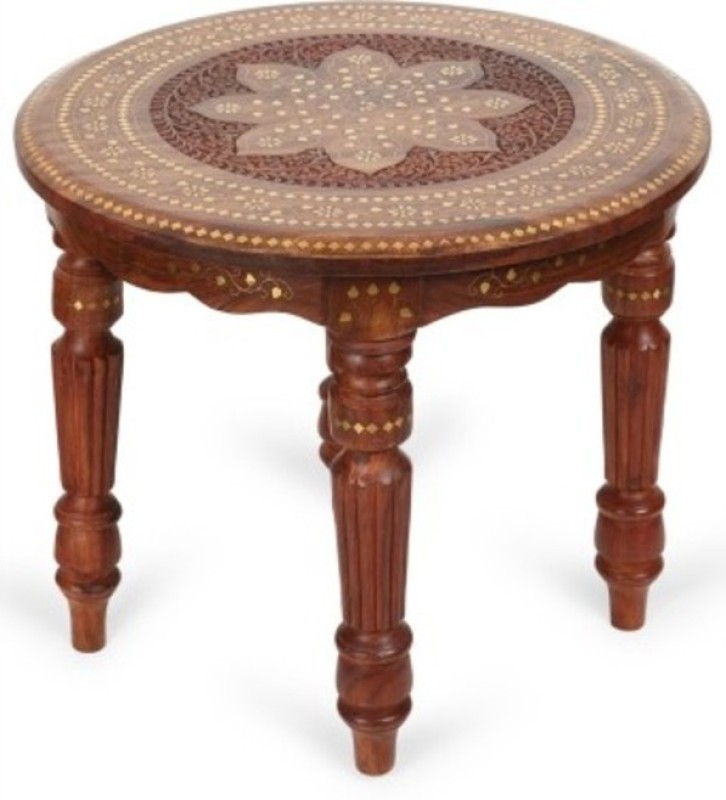 Onlineshoppee Hand Carved And Brass Inlay Solid Wood Coffee Table(Finish Color - Brown)