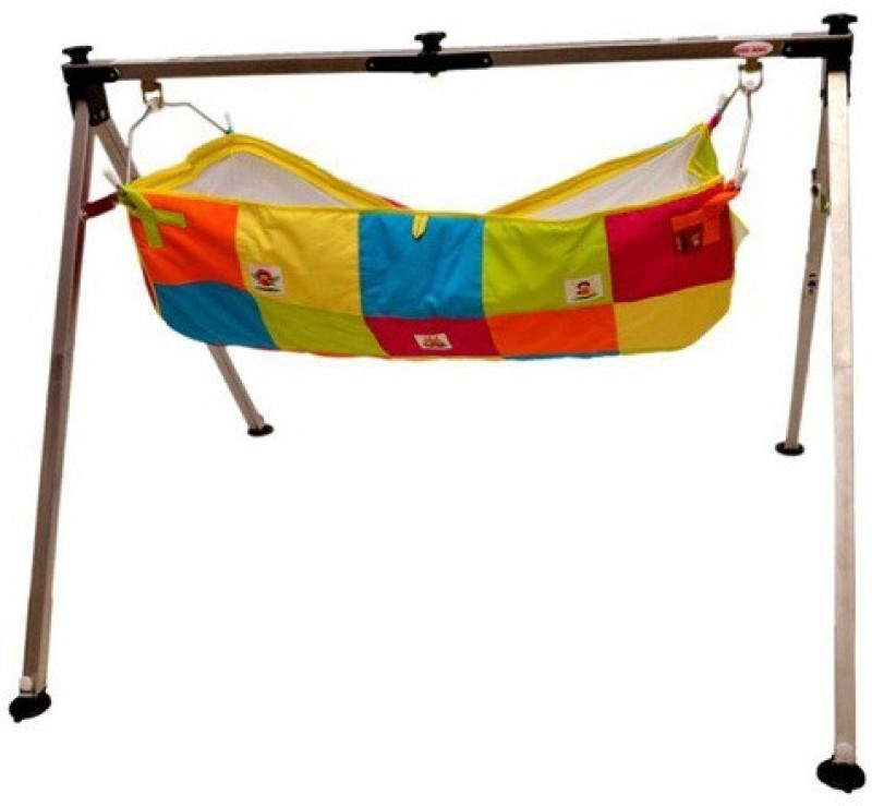 Future market Indian Style Semi - Folding Stainless Steel Ghodiyu (Baby Cradle) with Hammock(Silver)