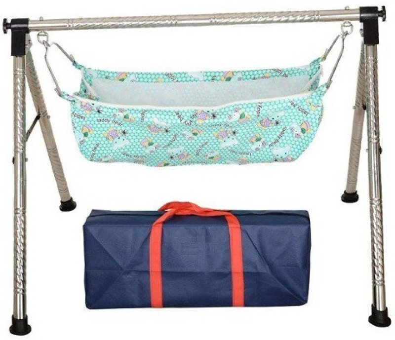 Future market Indian Style Fully Folding Stainless Steel Ghodiyu (Baby Cradle)(Silver)