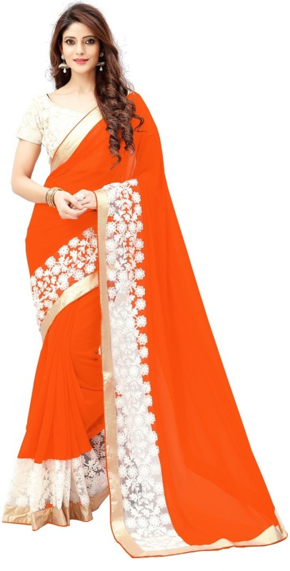 G-Stuff Fashion Embroidered Bollywood Georgette Saree(Orange)