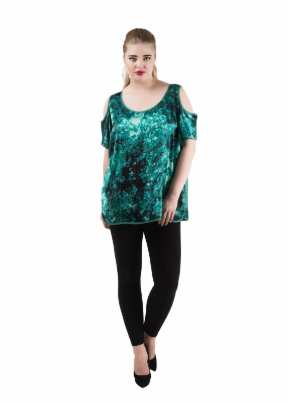Qurvii Casual Short Sleeve Printed Women Green Top