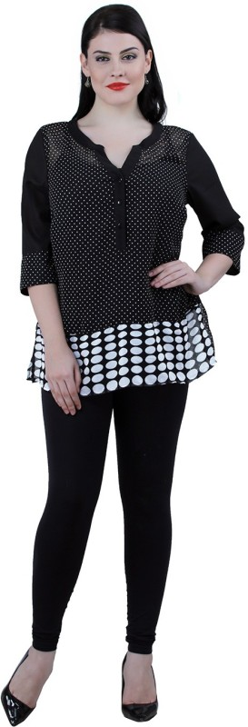 Qurvii Casual 3/4 Sleeve Polka Print Women Black Top