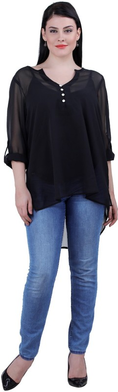 Qurvii Casual Roll-up Sleeve Solid Women Black Top