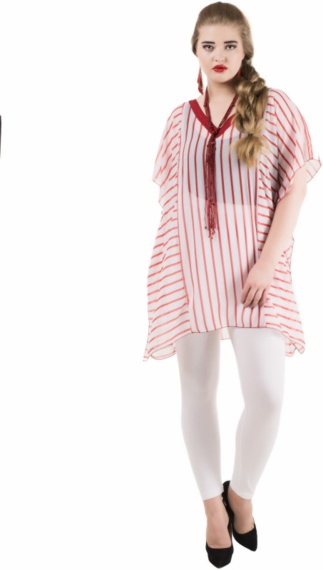 Qurvii Casual Short Sleeve Striped Women Red Top