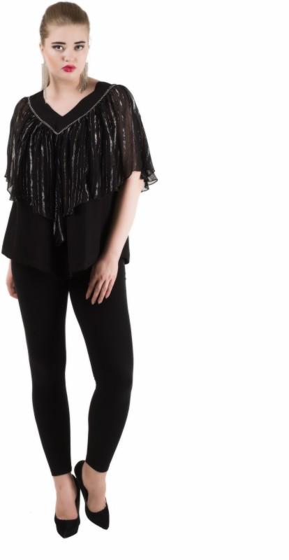 Qurvii Casual Short Sleeve Embellished Women Black Top