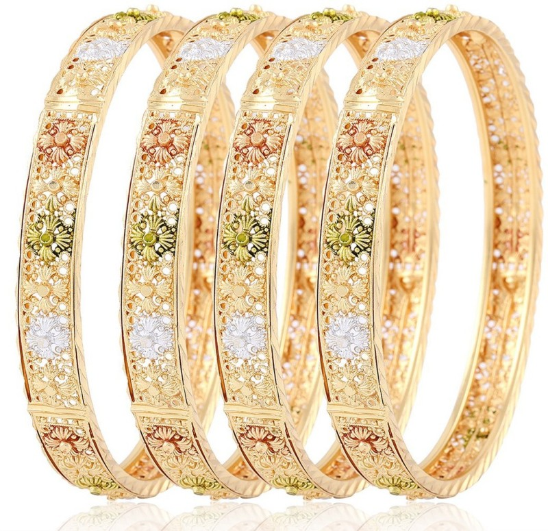 Jewels Galaxy Alloy Cubic Zirconia Copper Bangle Set(Pack of 4)