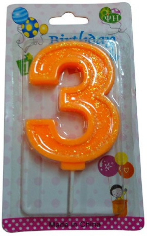 Funcart Funcart ORANGE COLOR GLITTER NUMERICAL NUMBER THREE SHAPE CANDLE Candle(Orange, Pack of 1)