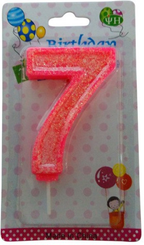 Funcart Funcart PINK COLOR GLITTER NUMERICAL NUMBER SEVEN SHAPE CANDLE Candle(Red, Pack of 1)