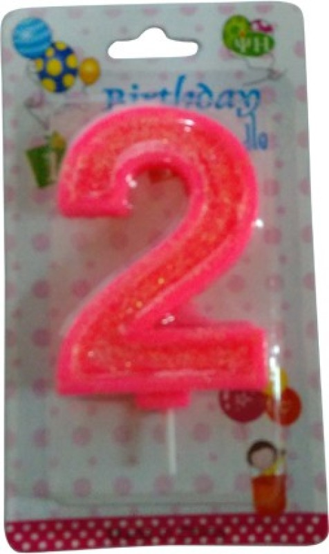 Funcart Funcart PINK COLOR GLITTER NUMERICAL NUMBER TWO SHAPE CANDLE Candle(Pink, Pack of 1)