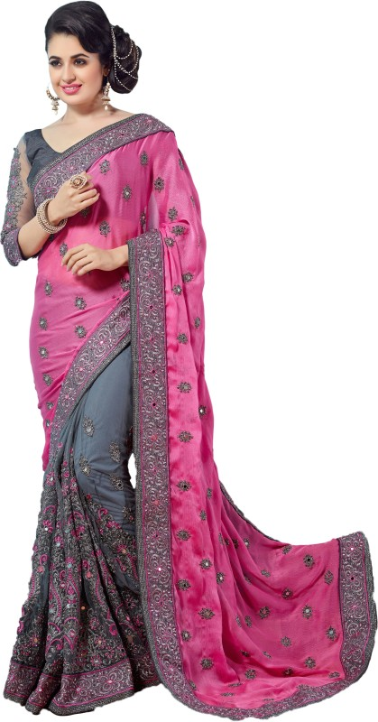 M.S.Retail Embroidered Bollywood Chiffon, Net Saree(Pink)