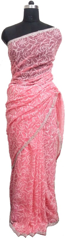 Dream's Designer Embroidered Lucknow Chikankari Handloom Poly Georgette Saree(Pink)