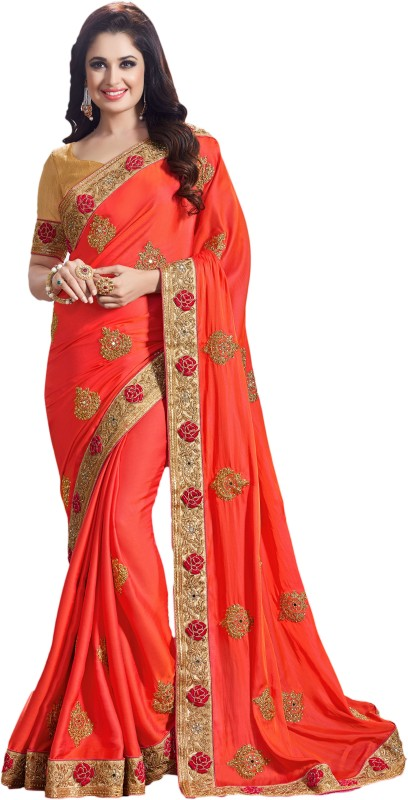 M.S.Retail Embroidered Kanjivaram Silk, Dupion Silk Saree(Orange)