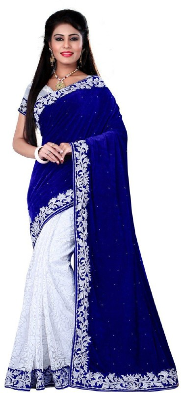 googlee Embroidered Bollywood Velvet, Net, Kota Cotton Saree(Blue, White, Silver)
