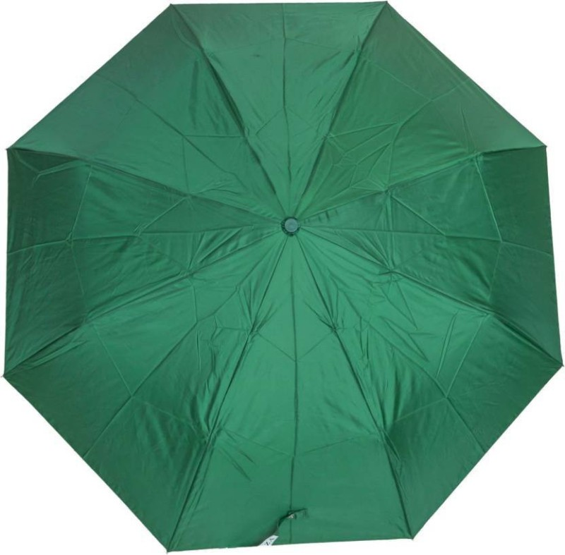 Jazam 3 FOLD UMBRELLA MANUAL OPEN PLAIN DESIGN FOR RAINY AND SUMMER Umbrella(Green)