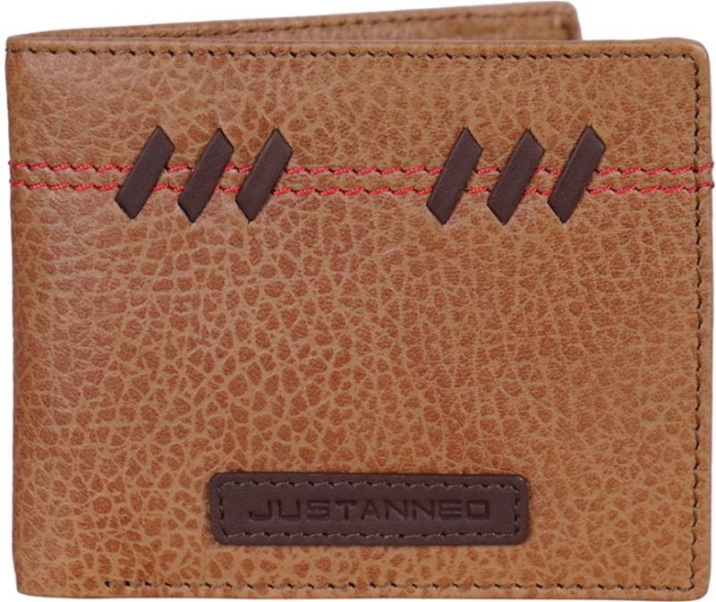 Justanned Men Tan Genuine Leather Wallet(6 Card Slots)