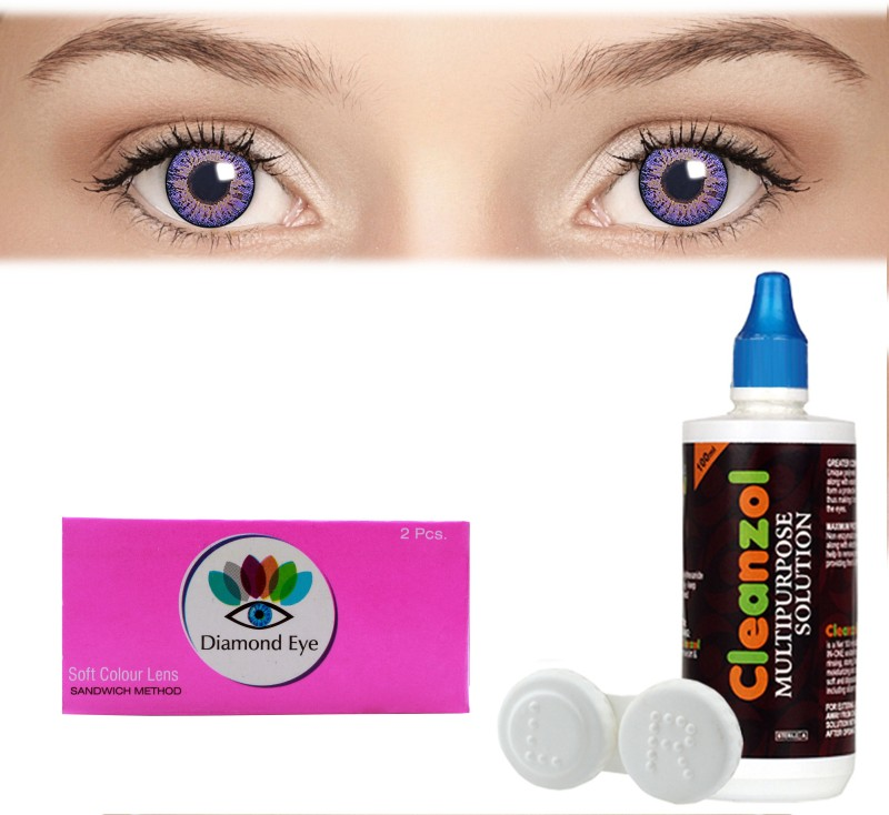 Diamond Eye Purple with LensCareKit By Visionsindia Quaterly Contact Lens(-2.50, Purple, Pack of 2)
