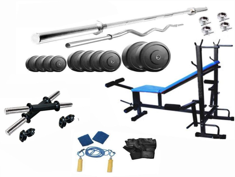Protoner 36 kg pvc weight with 4 rods and 8 in 1 bench Home Gym Combo(20 - 40 kg)