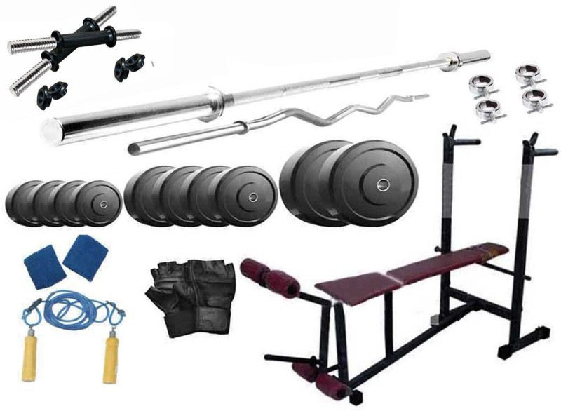 Protoner 44 kg pvc weight with 4 rods and 6 in 1 multi bench Home Gym Combo(40 - 60 kg)
