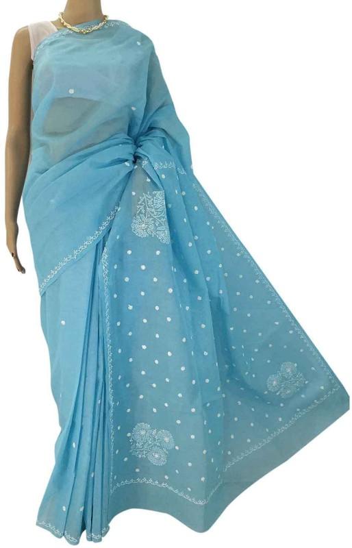 RZU Embroidered Lucknow Chikankari Handloom Cotton Saree(Blue)