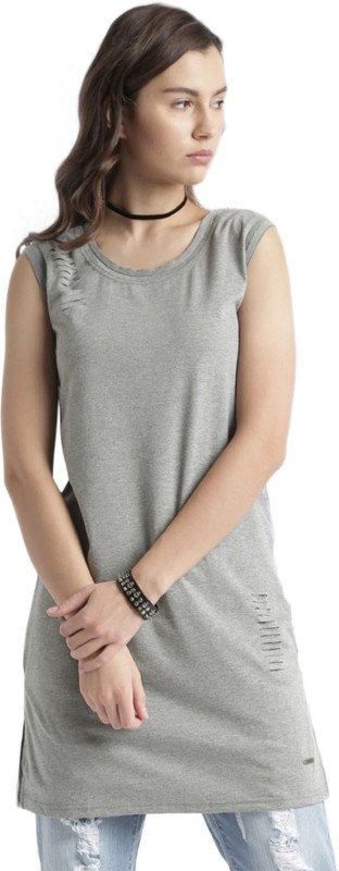 Roadster Solid Womens Round Neck Grey T-Shirt