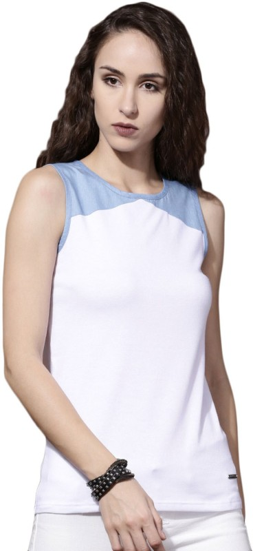 Roadster Solid Womens Round Neck White, Blue T-Shirt