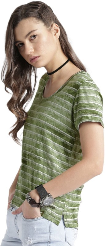 Roadster Striped Womens Round Neck Green, White T-Shirt