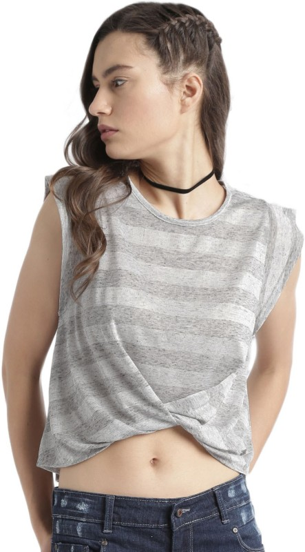 Roadster Striped Womens Round Neck Grey T-Shirt