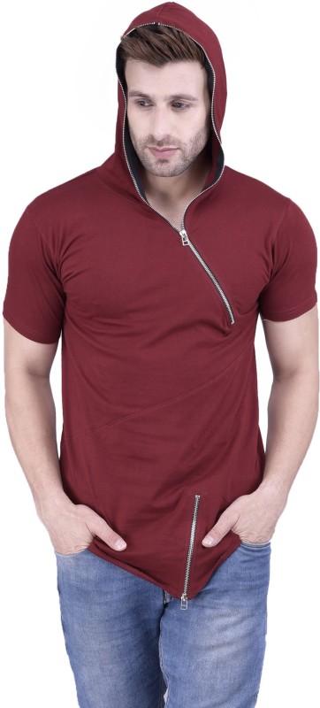 Acomharc Solid Men's Hooded Maroon T-Shirt