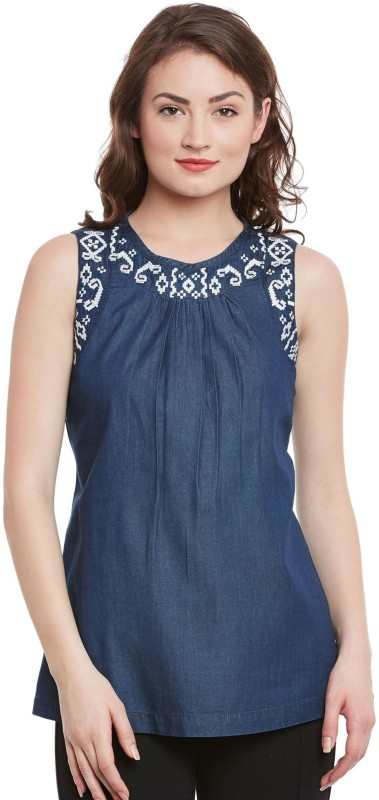 The Vanca Casual Sleeveless Solid Women Blue Top