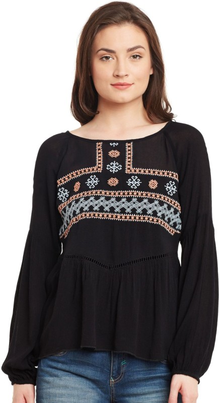 The Vanca Casual Full Sleeve Embroidered Women Black Top