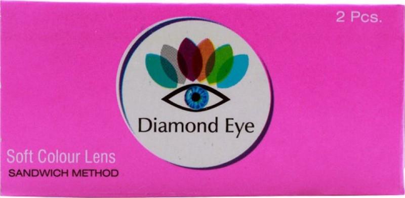 Diamond Eye Hazel with LensCareKit By Visionsindia Quaterly Contact Lens(-5.00, Hazel, Pack of 2)