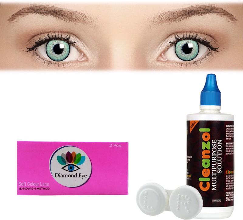 Diamond Eye Green with LensCareKit By Visionsindia Quaterly Contact Lens(-3.25, Green, Pack of 2)